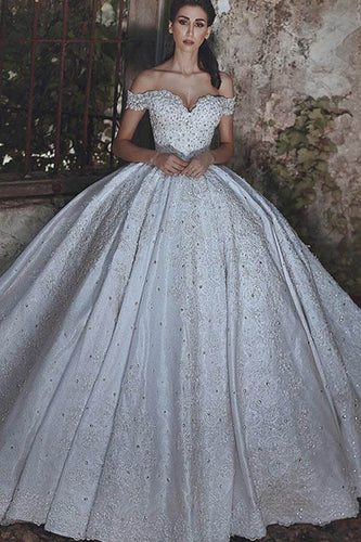 Classical Off-The-Shoulder Lace-Up Back Satin Ball Gown Wedding Dress With Beads & Applique