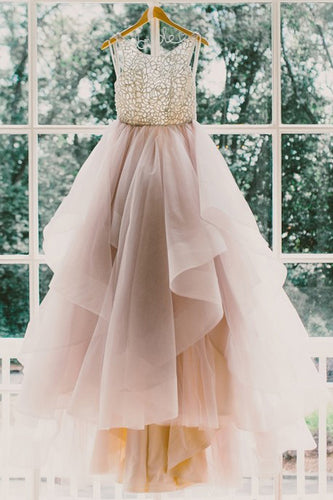 Ball Gown Jewel Neck Sweep Train Bridal Dress With Lace Bodice