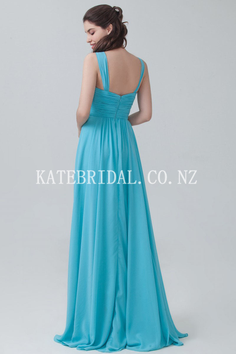Strap V-Neck Brush Train Pleated Chiffon Bridesmaid Dress With Ruching