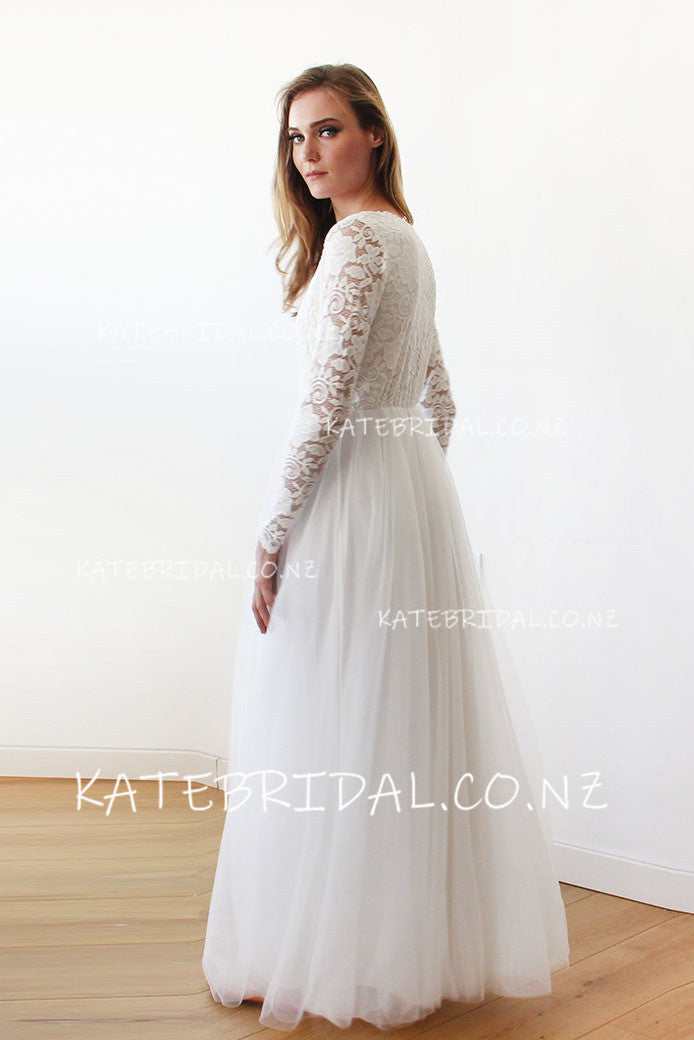 fd0f5ad18202a Illusion Long Sleeve V-Neck Floor-Length Tulle Bridal Dress With Floral Lace  Bodice