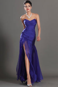 Sweetheart Sleeveless Zipper-Up Fit and Flare Floor-Length Solid Ruched Chiffon Evening Dress