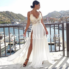 Applique Spaghetti Straps Sleeveless Long Solid Slit Sheath Chiffon Prom Dress