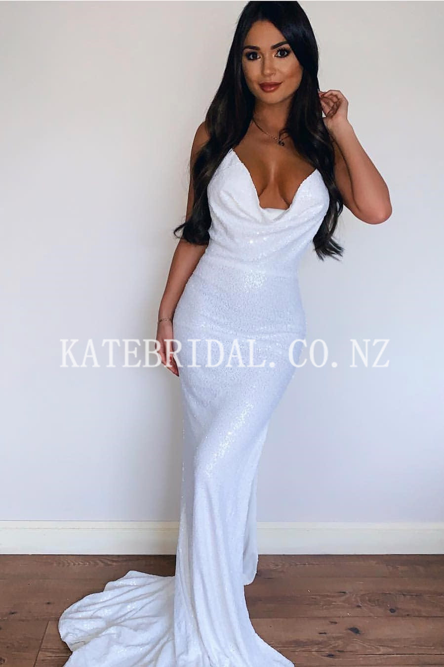 2a6a5c9bc9cd Cowl Neck Sleeveless Long Solid Stretch Mermaid Prom Dress with Sweep Train
