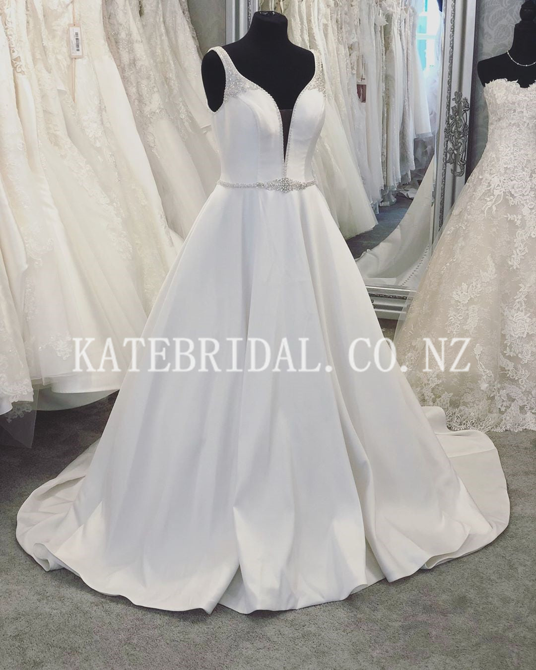 Beading Plunging Neck Sleeveless Backless Long Solid Satin Wedding Dress with Sweep Train