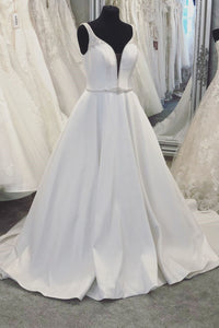 Plunging V-Neck Open Back Satin Ball Gown Wedding Dress With Crystals