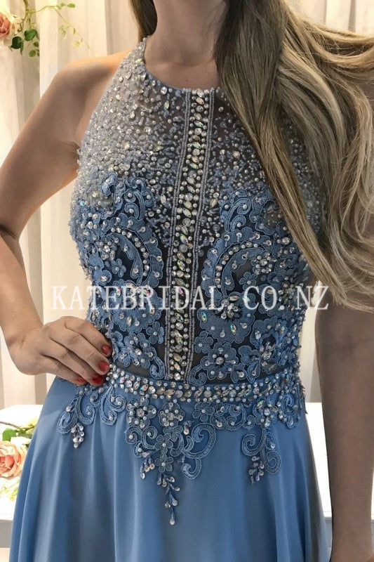 Applique Beading Rhinestone Scoop Neck Sleeveless Open Back Long Evening Dress