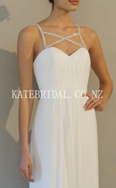 Beading Spaghetti Straps Sleeveless Backless Floor-Length Solid Sheath Evening Dress