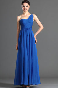 Beading One Shoulder Sleeveless Zipper-Up Ankle-Length Solid Ruched Chiffon Evening Dress