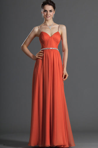 Rhinestone Spaghetti Straps Sleeveless Zip-Up Ankle-Length Solid Ruched Evening Dress