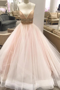 Spaghetti Strap Low V-Neck Tulle Ball Gown Wedding Dress With Beads