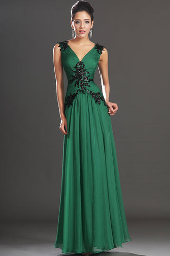 Graceful Applique V-Neck Sleeveless V-Back Ankle-Length Ruched Chiffon Evening Dress
