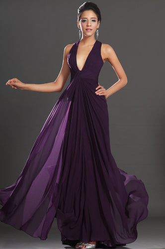 V-Neck Sleeveless Open Back Long Solid Ruched Chiffon Evening Dress with Sweep Train