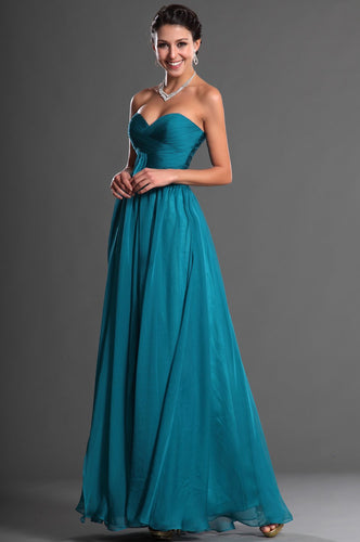 Sweetheart Sleeveless Zipper-Up Ankle-Length Solid Ruched Sheath Chiffon Evening Dress