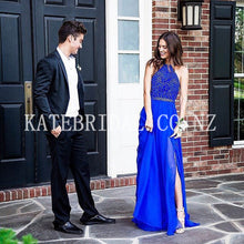 Beading Jewel Neck Sleeveless Open Back Long Solid Silt Sheath Chiffon Evening Dress