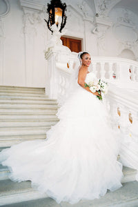 Sweetheart Strapless Tiered Ruffle Tulle Ball Gown Bridal Dress With Ruched Bodice