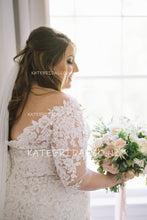 Lace Illusion Off-The-Shoulder 1/2 Sleeve Plus Size Mermaid Wedding Dress