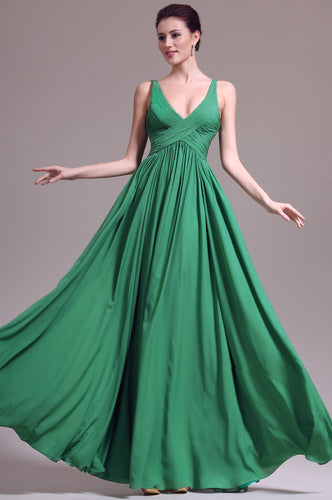 V-Neck Sleeveless Zipper-Up Floor-Length Solid Ruched Sheath Chiffon Evening Dress