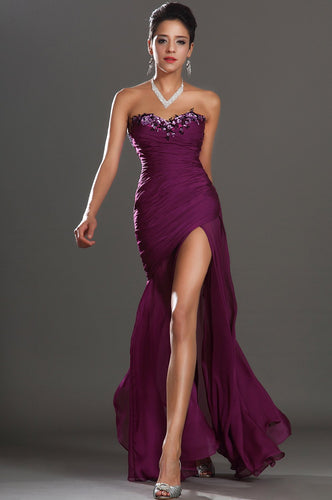 Sequinned Sweetheart Strapless Ankle-Length Chiffon Evening Dress With High Slit