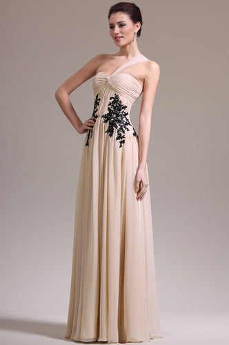 Applique One Shoulder Sleeveless Zipper-Up Floor-Length Ruched Chiffon Evening Dress