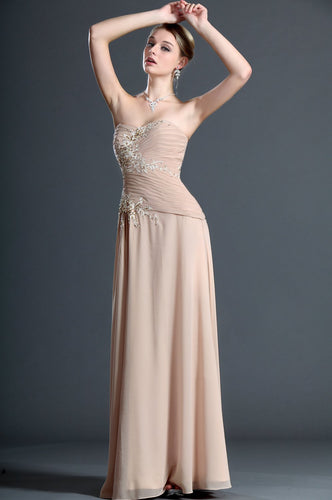 Ruched Strapless Sweetheart Floor-Length Chiffon Sheath Evening Dress With Applique