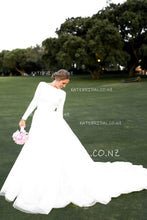 Vintage Bateau Neck Long Sleeve Backless A-Line Wedding Dress with Court Train