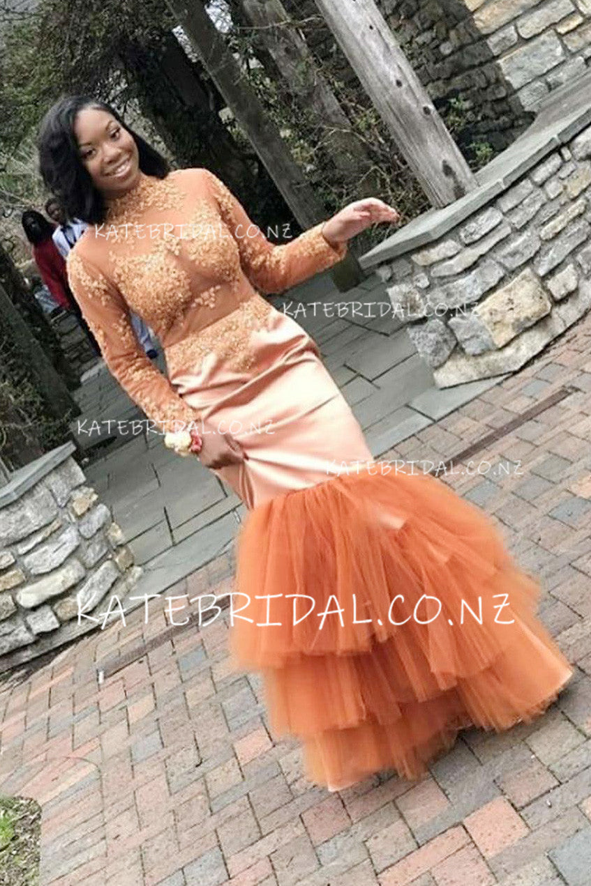 Appliqued High Neck Long Sleeve Illusion Mermaid Prom Dress With Layered Skirt