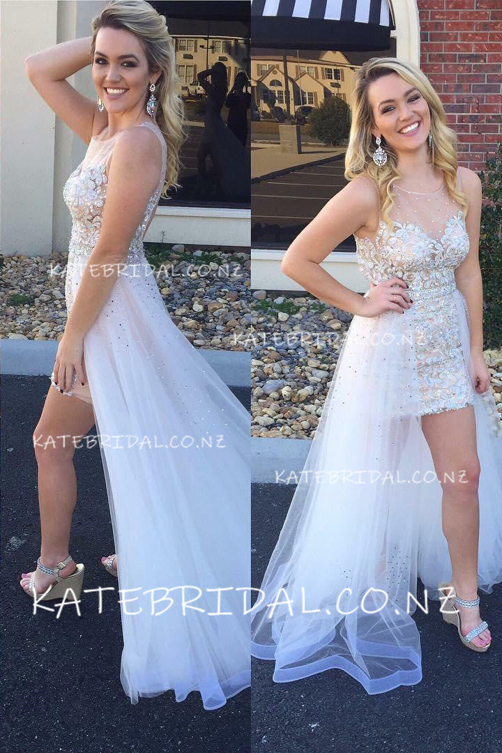 Beaded Sheer Neck Lace Prom Dress With Tulle Overskirt