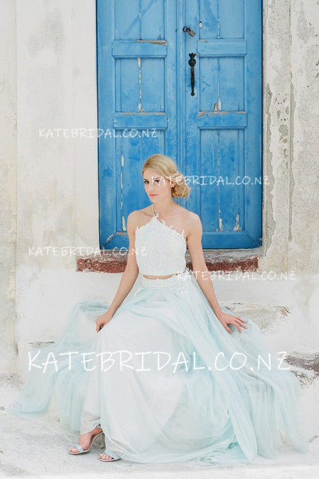 Lace Applique Two-Piece One-Shoulder Floor-Length Tulle Wedding Dress