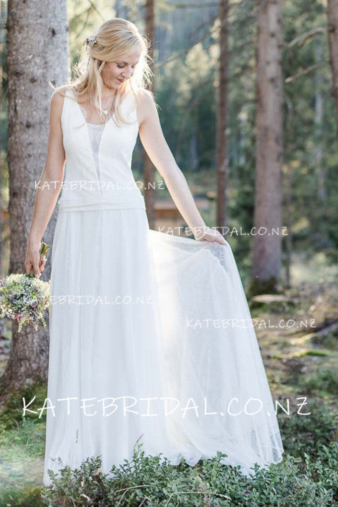 Tulle Plunging V-Neck A-Line Sweep Train Wedding Dress
