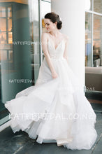 Spaghetti Strap A-Line Floor-Length Tulle Wedding Dress With Lace Bodice