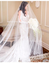 Waterfall Hand Cut Edge Cathedral Veil in Silk Effect Tulle