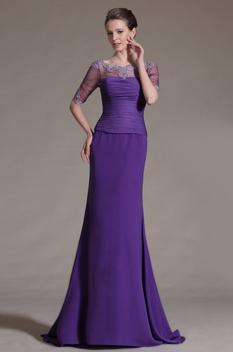 Mermaid Illusion Scalloped Edge Neck 1/2 Sleeves Long Chiffon Evening Dress
