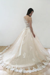 Sheer Neck Illusion Tulle Ball Gown Bridal Dress With Lace Applique