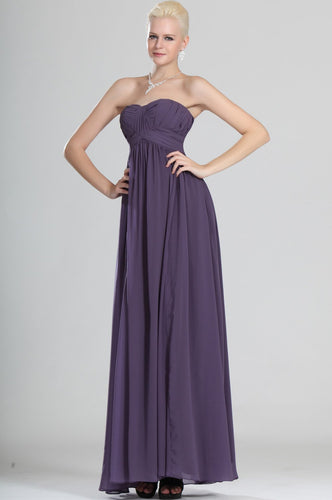 Sweetheart Sleeveless Empire Ankle-Length Solid Ruched Sheath Chiffon Evening Dress