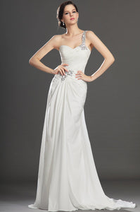 Rhinestone One Shoulder Sleeveless Zipper-Up Long Solid Ruched Chiffon Evening Dress