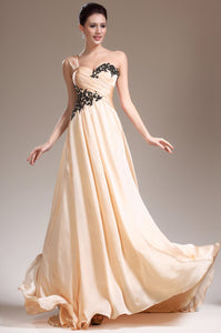 Appliqued One-Shoulder Sweep Train Ruched Chiffon Evening Dress
