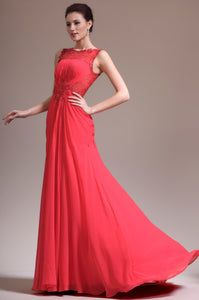 Beading Lace Illusion Scoop Neck Sleeveless Zip-Up Long Solid Ruched Chiffon Evening Dress