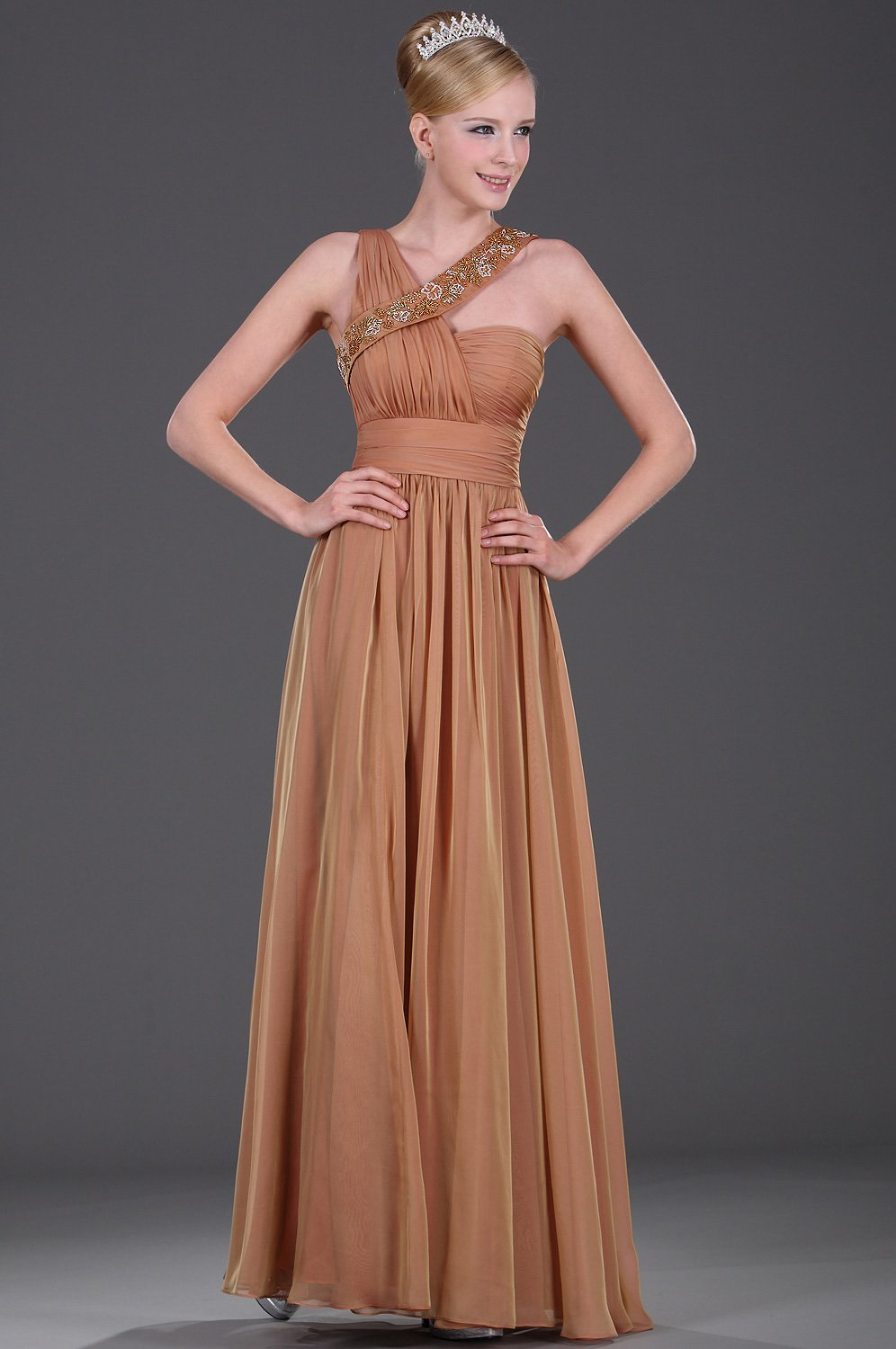 Beading Irregular Straps Sleeveless Zipper-Up Ankle-Length Solid Chiffon Evening Dress
