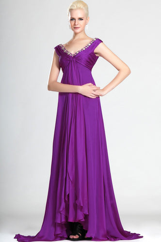 Rhinestone V-Neck Cap Sleeves Empire Zipper-Up Long Solid Ruched Chiffon Evening Dress