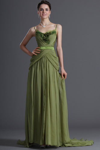 Spaghetti Straps Sleeveless Zipper-Up Long Solid Ruched Sheath Chiffon Evening Dress