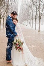 Lace Ponchos Tulle High Neck Sweep Train Wedding Dress
