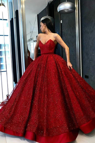 Gorgeous Lace Sequin Strapless Sleeveless Floor-Length Satin Ball Gown Prom Dress
