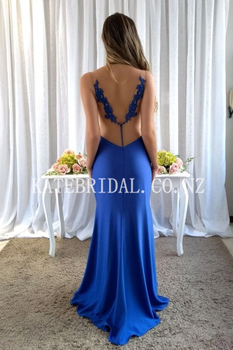 Applique Illusion Straps Sleeveless Backless Long Solid Stretch Mermaid Evening Dress