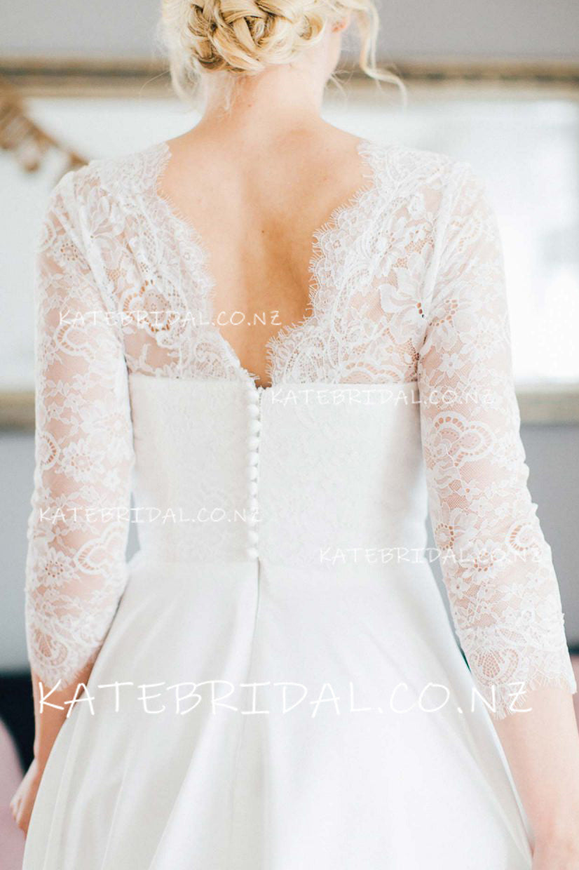 Lace Queen Anne Neck 3/4 Sleeve Zip-Up Floor-Length A-Line Satin Bridal Dress