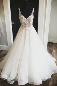 Deep V-Neck Open Back Tulle Ball Gown Wedding Dress With Beaded Bodice