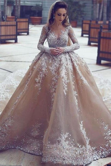 Luxurious Long Sleeve Illusion Jewel Neck Cathedral Train Organza Ball Gown Wedding Dress With Applique