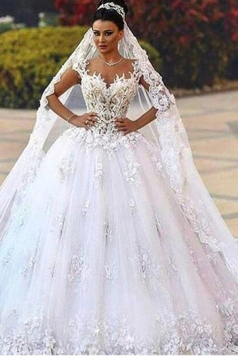 Classical Sweetheart Backless Cathedral Train Ball Gown Wedding Dress With Applique
