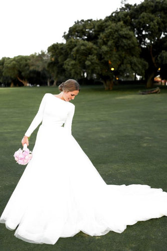 A-Line Backless Long Sleeve Bateau Neck Court Train Wedding Dress
