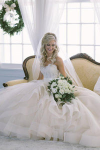 Elegant Lace Bodice Strapless Sweetheart Backless A-Line Tulle Wedding Dress
