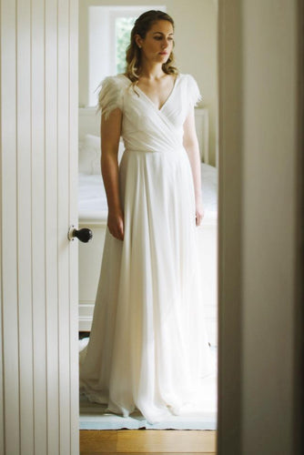 A-Line Chiffon V-Neck Cap Sleeve Sweep Train Bridal Dress With Feather